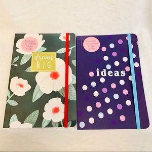 2pk bullet journal dotted notebook purple green